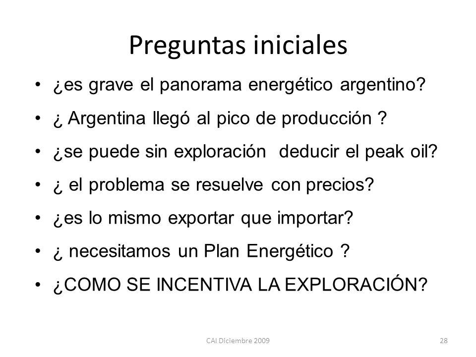 Preguntas iniciales ¿es grave el panorama energético argentino