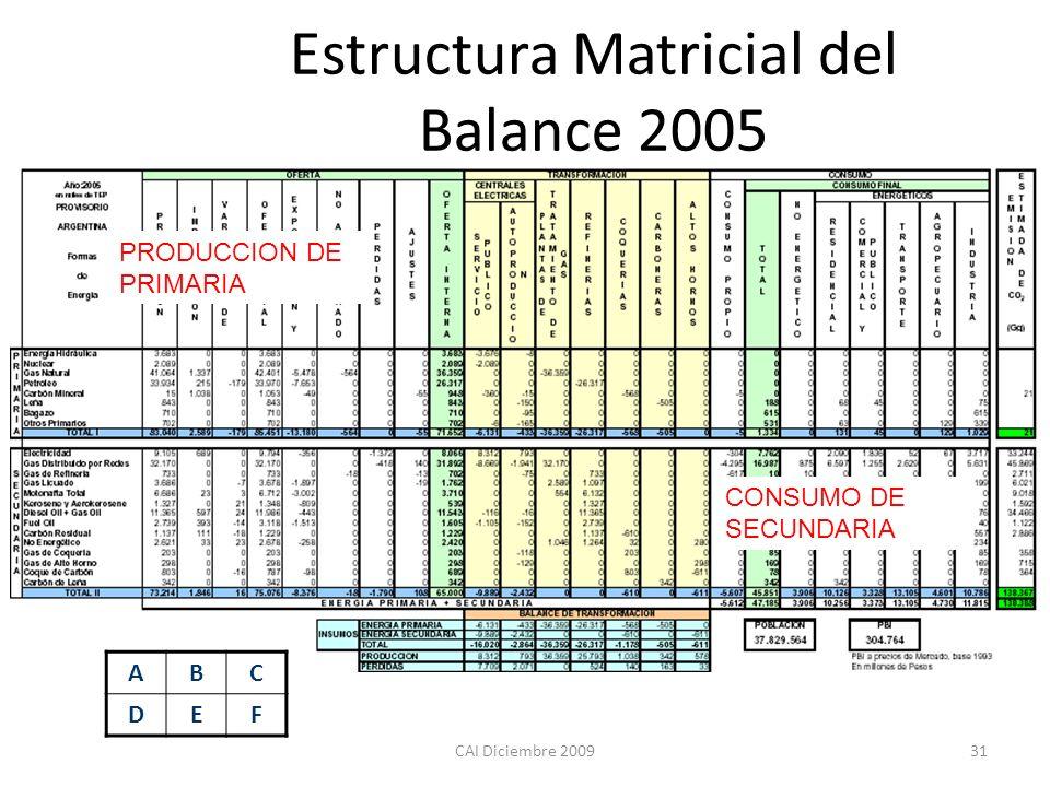 Estructura Matricial del Balance 2005
