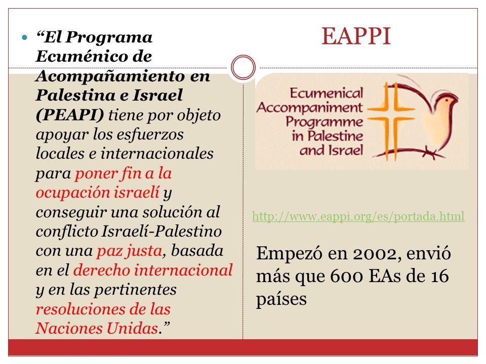 EAPPI Empezó en 2002, envió más que 600 EAs de 16 países