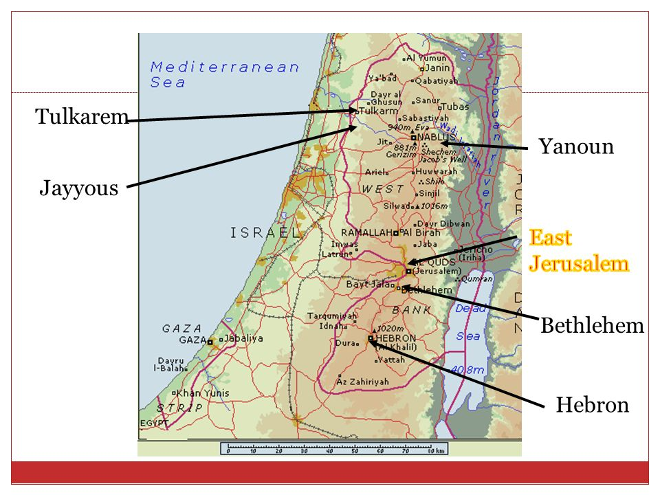 Tulkarem Yanoun Jayyous East Jerusalem Bethlehem Hebron