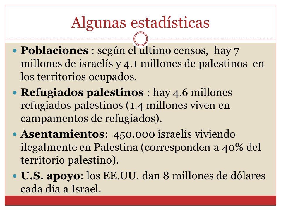Algunas estadísticas Poblaciones : según el ultimo censos, hay 7 millones de israelís y 4.1 millones de palestinos en los territorios ocupados.