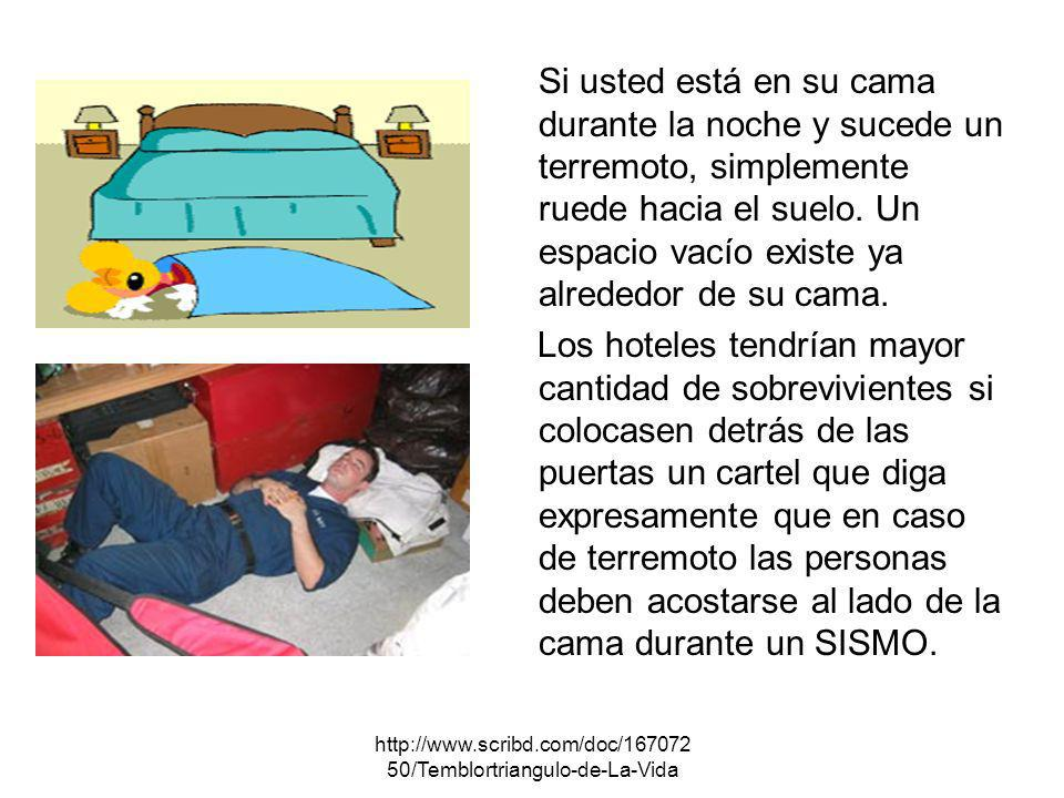 Si usted está en su cama durante la noche y sucede un terremoto, simplemente ruede hacia el suelo. Un espacio vacío existe ya alrededor de su cama.