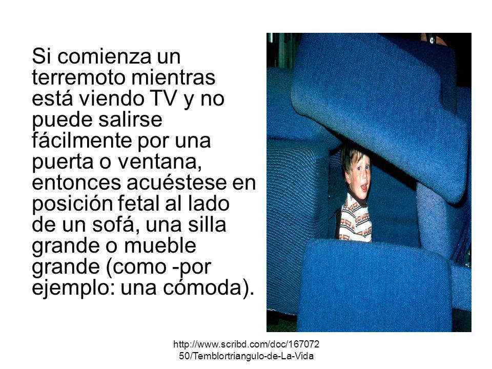 Si comienza un terremoto mientras está viendo TV y no puede salirse fácilmente por una puerta o ventana, entonces acuéstese en posición fetal al lado de un sofá, una silla grande o mueble grande (como -por ejemplo: una cómoda).