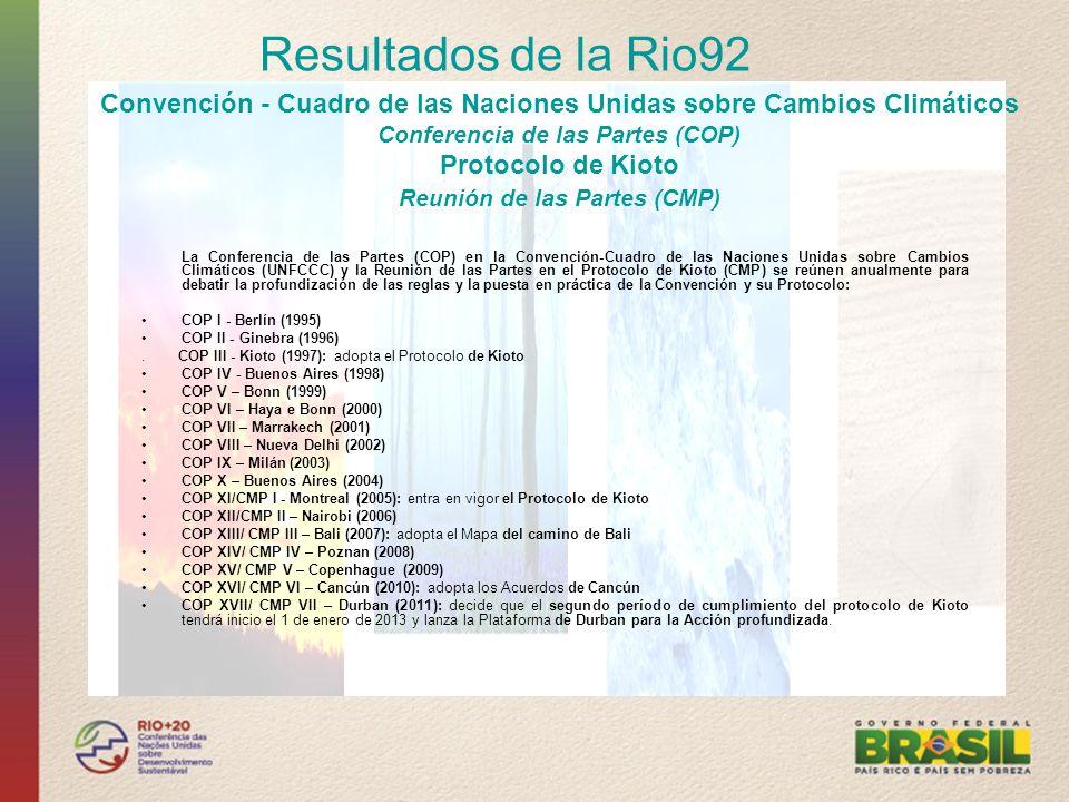 Resultados de la Rio92 Convención - Cuadro de las Naciones Unidas sobre Cambios Climáticos. Conferencia de las Partes (COP)