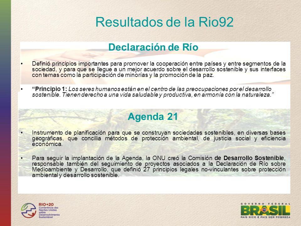 Resultados de la Rio92 Declaración de Río Agenda 21