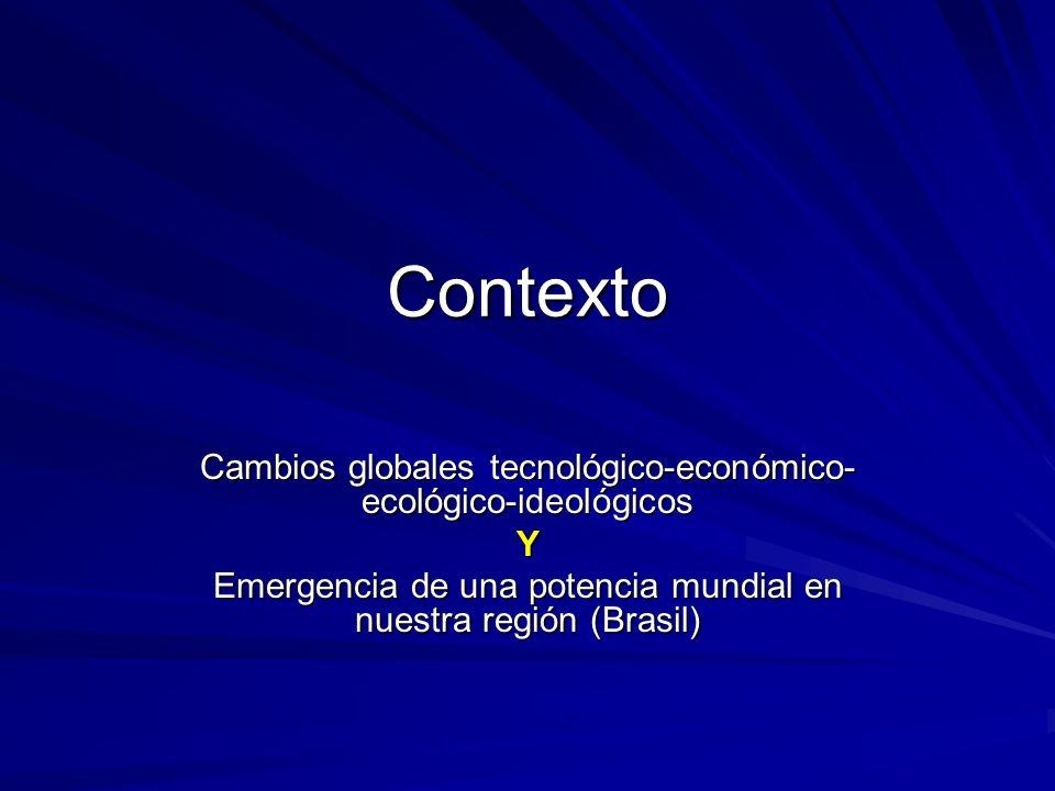 Contexto Cambios globales tecnológico-económico-ecológico-ideológicos