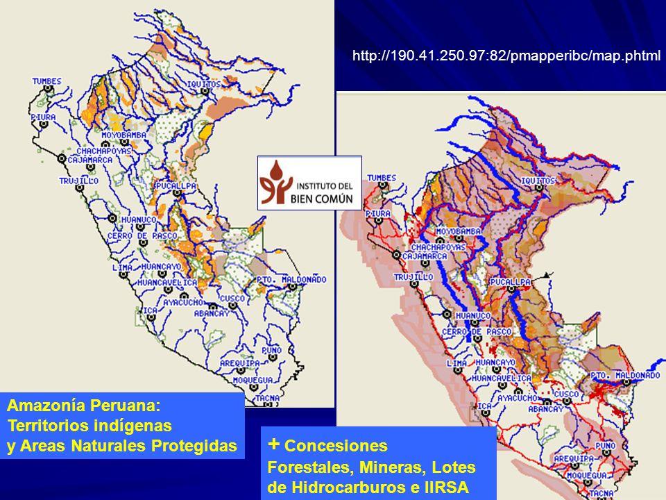 + Concesiones Amazonía Peruana: Territorios indígenas
