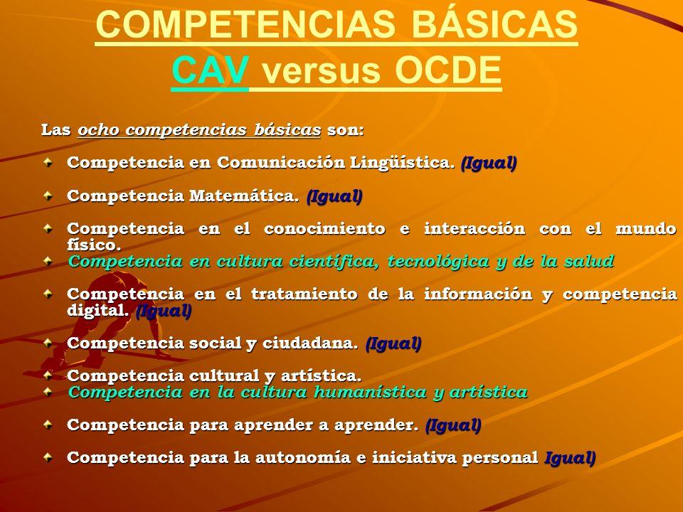 COMPETENCIAS BÁSICAS CAV versus OCDE
