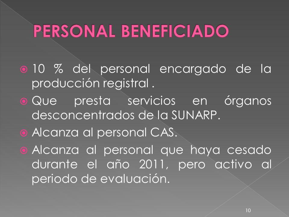 PERSONAL BENEFICIADO 10 % del personal encargado de la producción registral . Que presta servicios en órganos desconcentrados de la SUNARP.