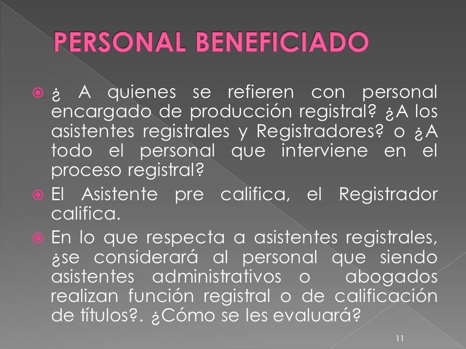 PERSONAL BENEFICIADO