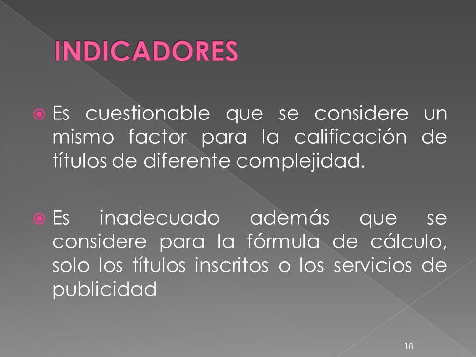 INDICADORES Es cuestionable que se considere un mismo factor para la calificación de títulos de diferente complejidad.