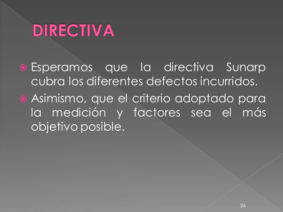 DIRECTIVA Esperamos que la directiva Sunarp cubra los diferentes defectos incurridos.