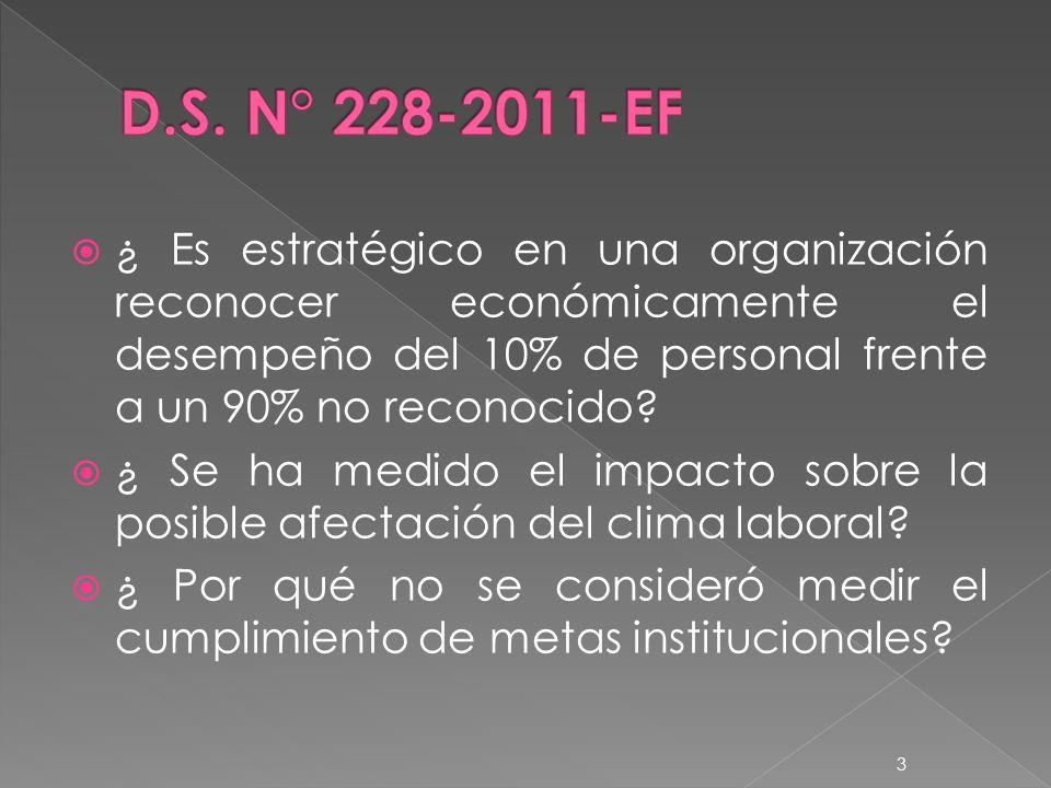 D.S. N° 228-2011-EF ¿ Es estratégico en una organización reconocer económicamente el desempeño del 10% de personal frente a un 90% no reconocido