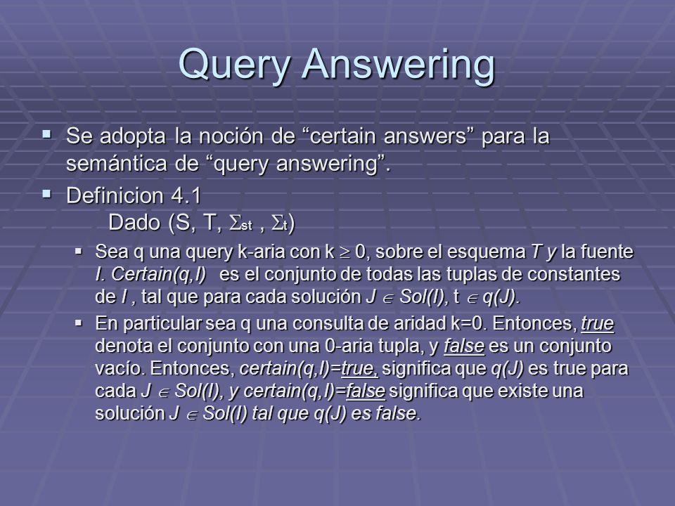 Query Answering Se adopta la noción de certain answers para la semántica de query answering . Definicion 4.1 Dado (S, T, st , t)