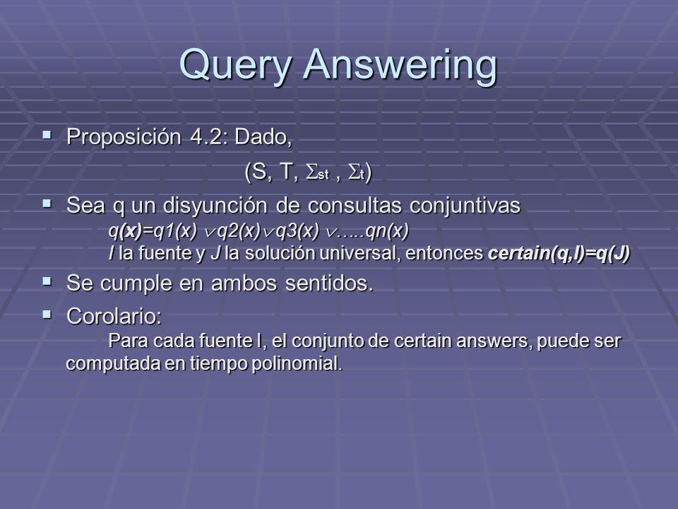 Query Answering Proposición 4.2: Dado, (S, T, st , t)