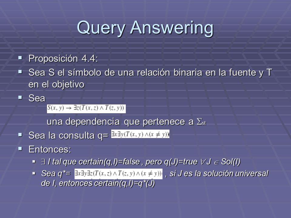 Query Answering Proposición 4.4: