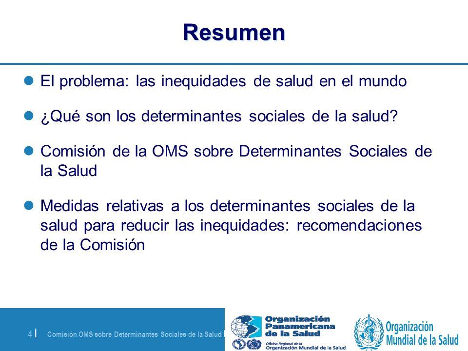 Resumen El problema: las inequidades de salud en el mundo