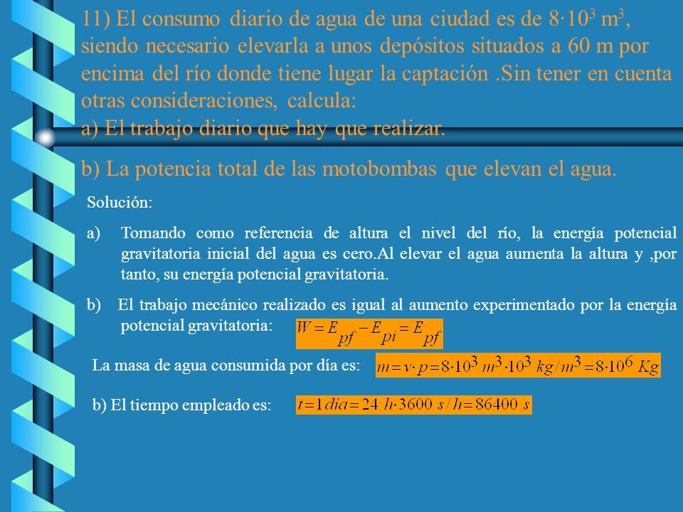 11) El consumo diario de agua de una ciudad es de 8·103 m3,