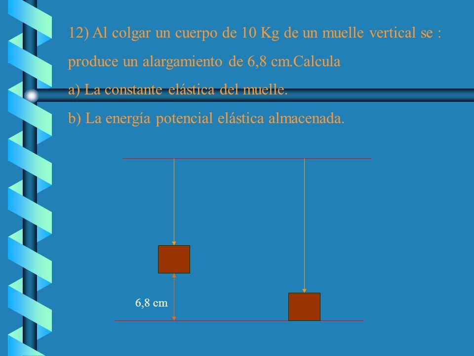 12) Al colgar un cuerpo de 10 Kg de un muelle vertical se :
