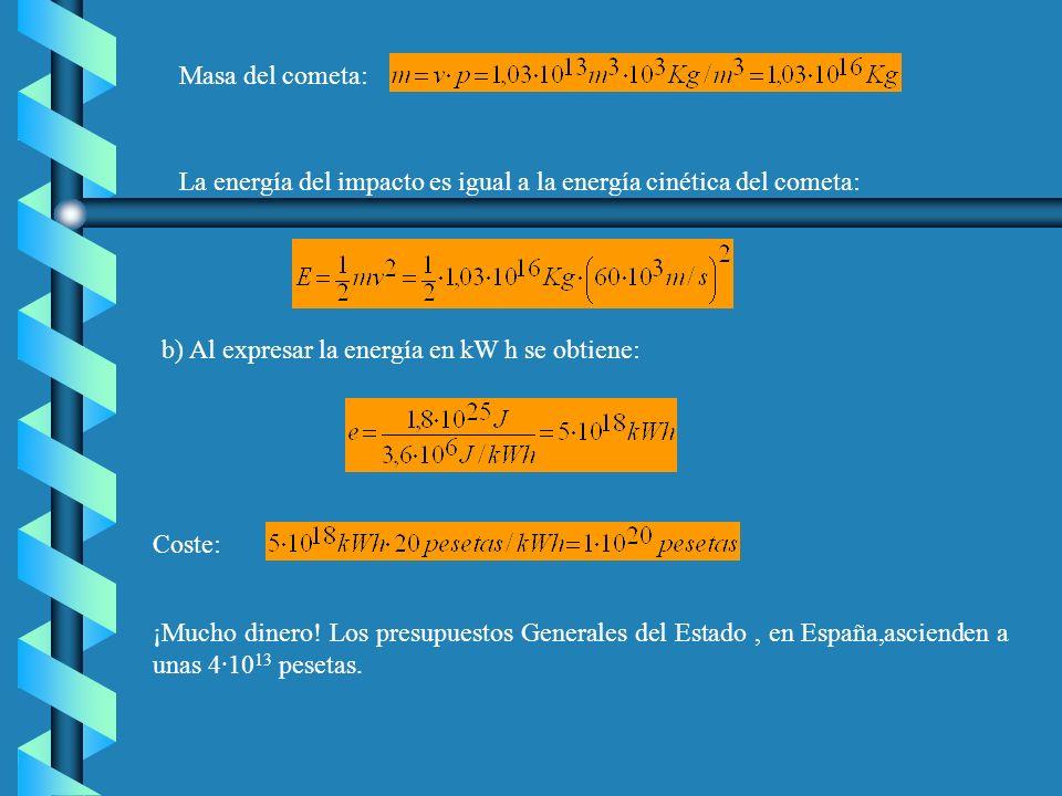 Masa del cometa: La energía del impacto es igual a la energía cinética del cometa: b) Al expresar la energía en kW h se obtiene: