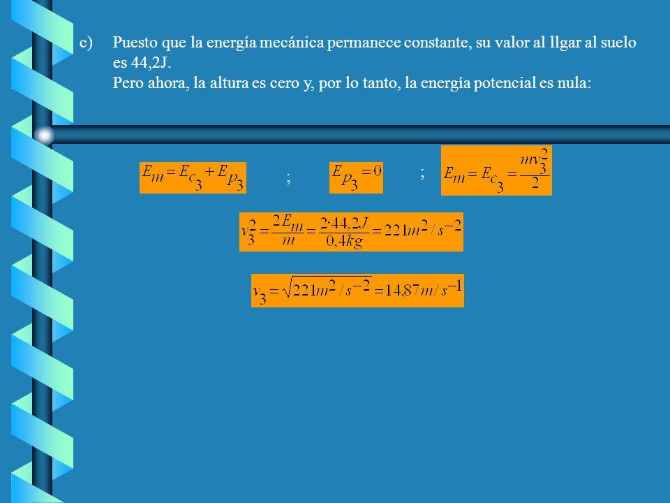 Puesto que la energía mecánica permanece constante, su valor al llgar al suelo es 44,2J.