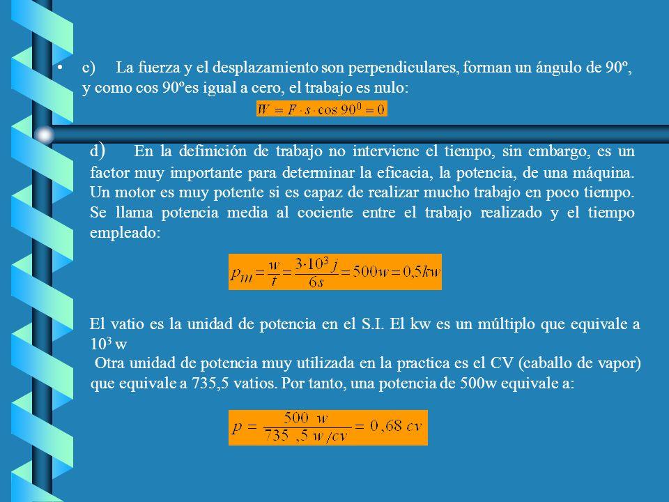 c) La fuerza y el desplazamiento son perpendiculares, forman un ángulo de 90º, y como cos 90ºes igual a cero, el trabajo es nulo: