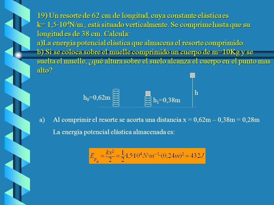 19) Un resorte de 62 cm de longitud, cuya constante elástica es k= 1,5·104N/m , está situado verticalmente. Se comprime hasta que su longitud es de 38 cm. Calcula: a)La energía potencial elástica que almacena el resorte comprimido. b) Si se coloca sobre el muelle comprimido un cuerpo de m=10Kg y se suelta el muelle, ¿qué altura sobre el suelo alcanza el cuerpo en el punto mas alto