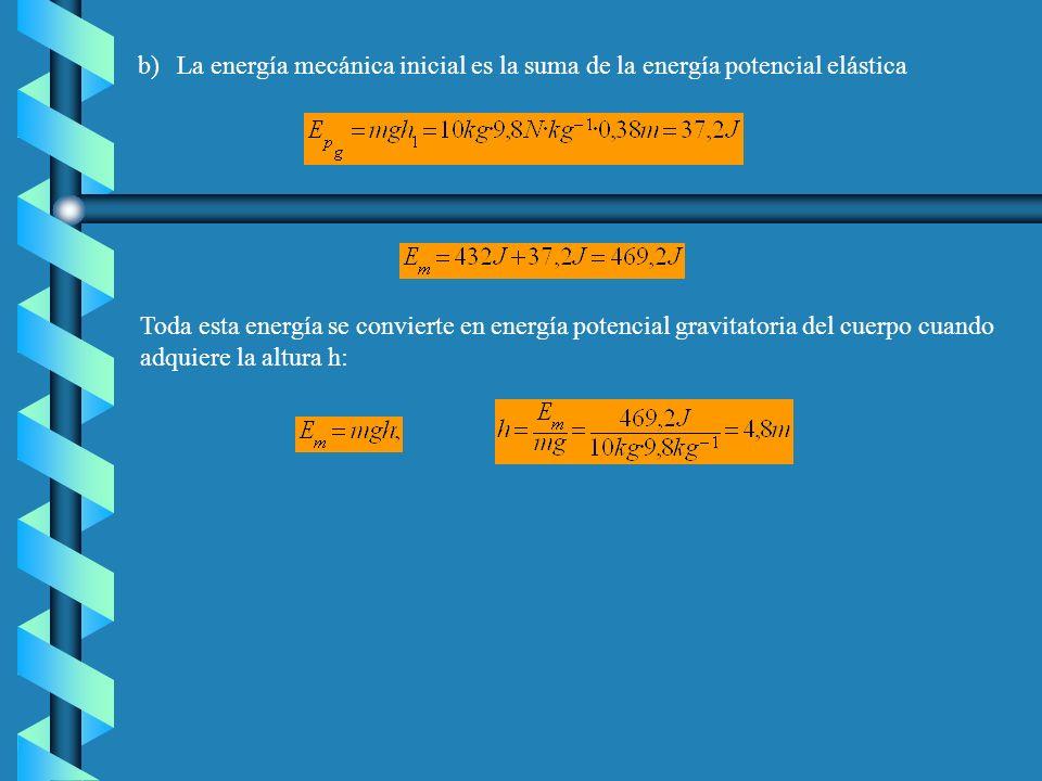 b) La energía mecánica inicial es la suma de la energía potencial elástica