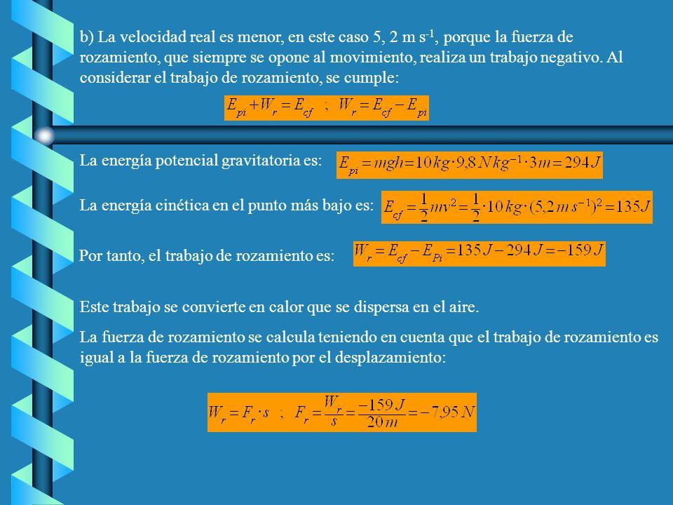 b) La velocidad real es menor, en este caso 5, 2 m s-1, porque la fuerza de rozamiento, que siempre se opone al movimiento, realiza un trabajo negativo. Al considerar el trabajo de rozamiento, se cumple:
