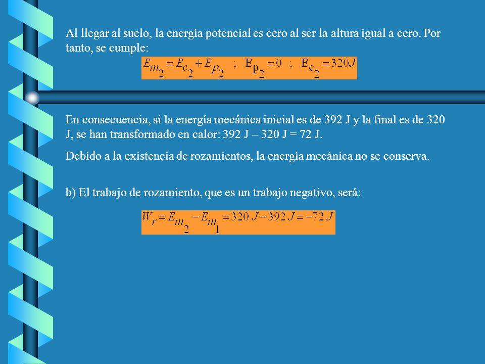 Al llegar al suelo, la energía potencial es cero al ser la altura igual a cero. Por tanto, se cumple: