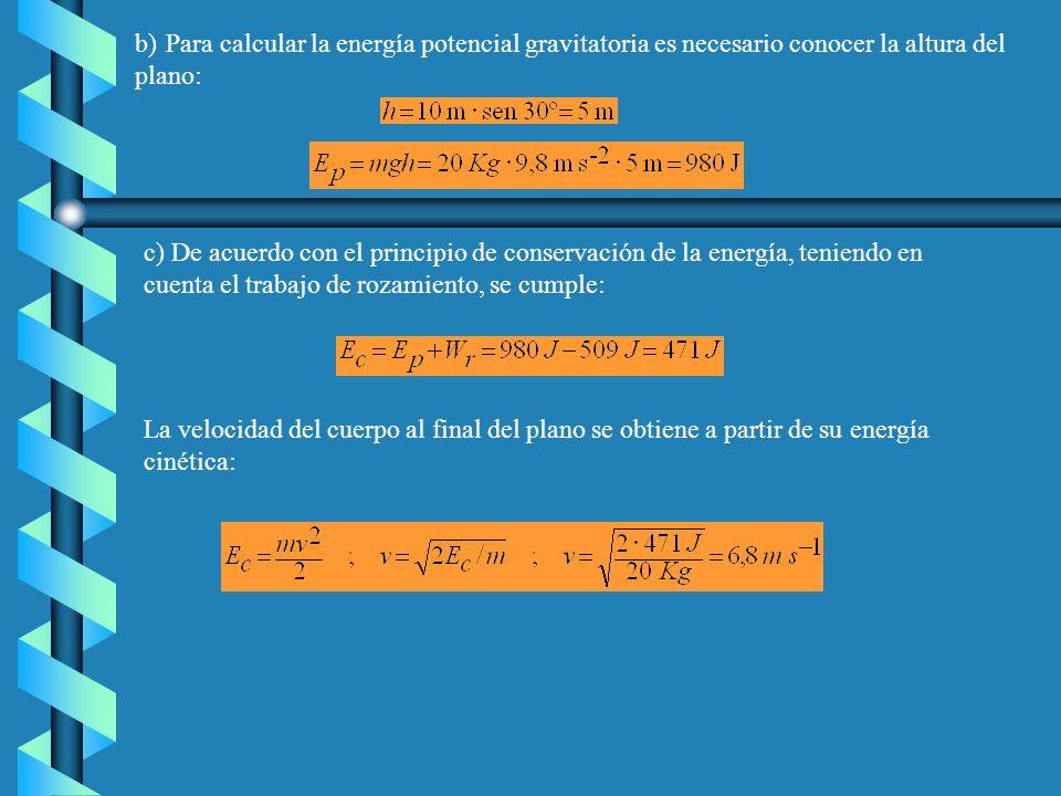 b) Para calcular la energía potencial gravitatoria es necesario conocer la altura del plano:
