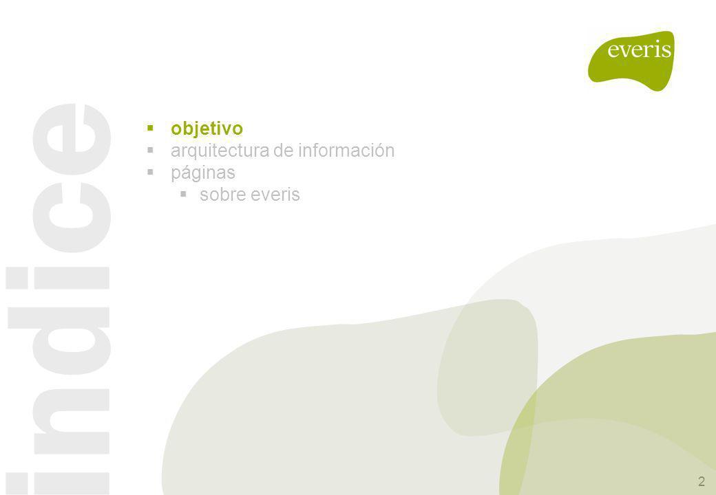 objetivo arquitectura de información páginas sobre everis indice