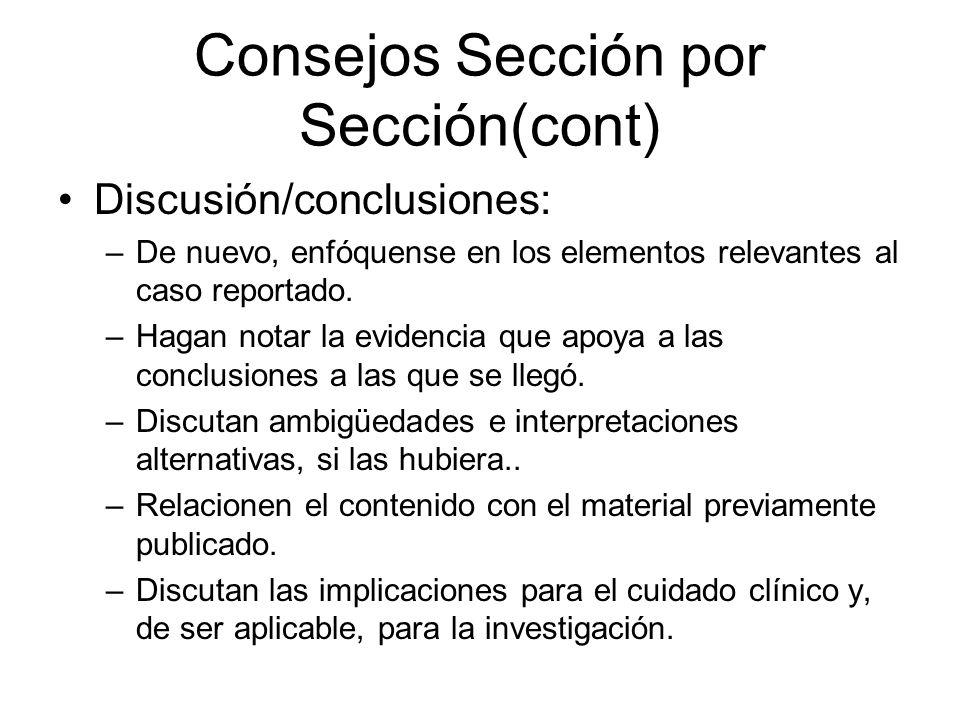 Consejos Sección por Sección(cont)