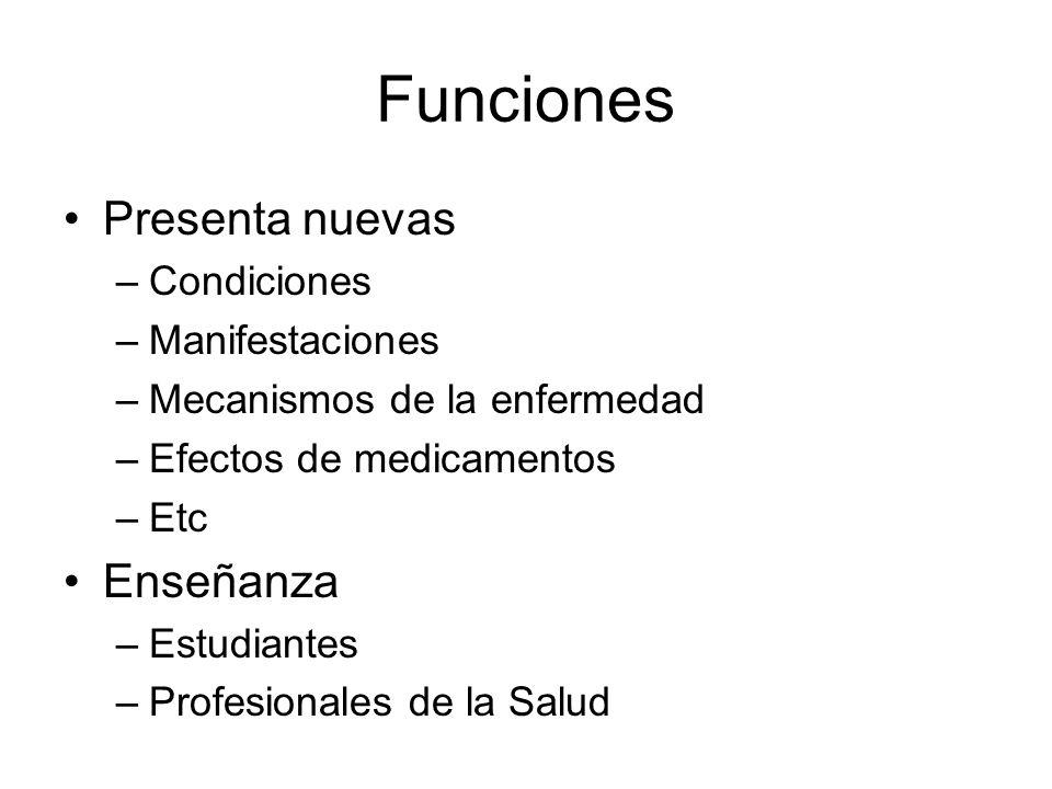 Funciones Presenta nuevas Enseñanza Condiciones Manifestaciones