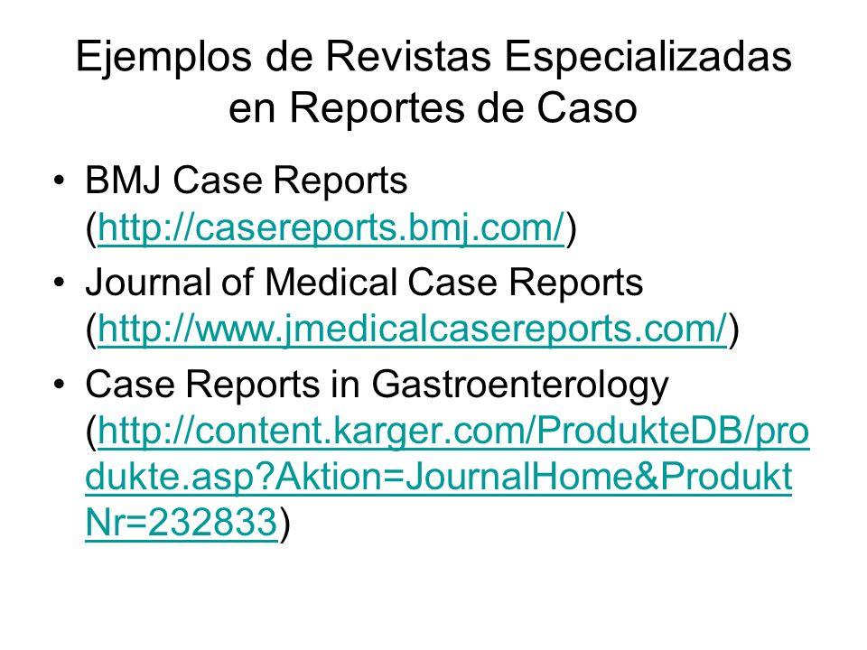 Ejemplos de Revistas Especializadas en Reportes de Caso