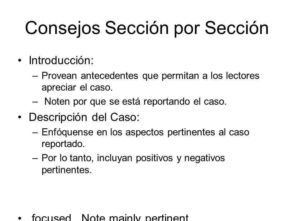 Consejos Sección por Sección