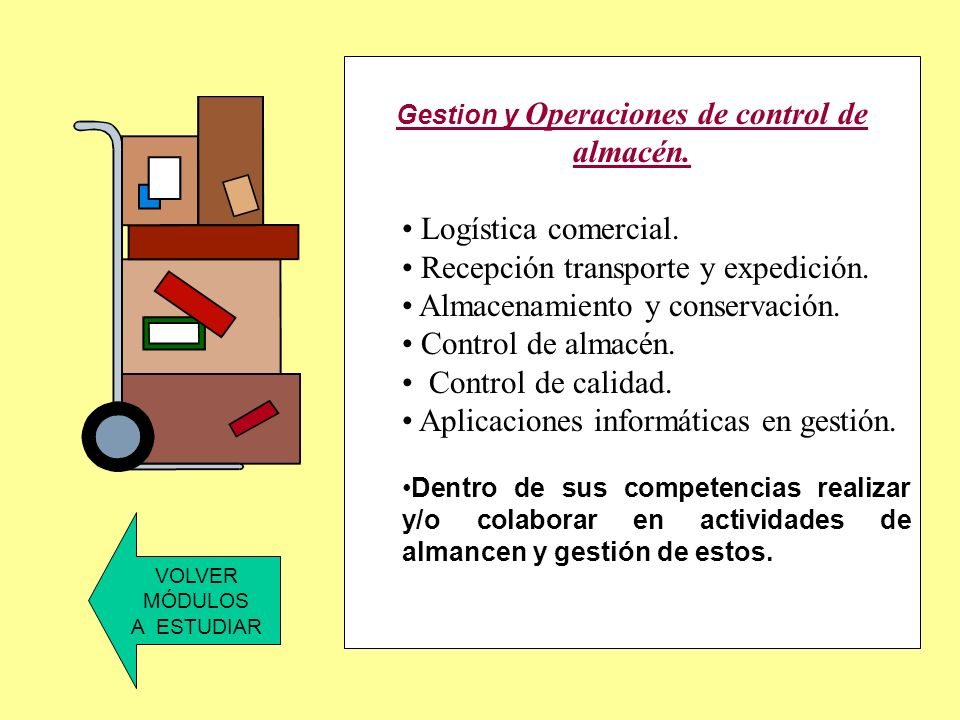Gestion y Operaciones de control de almacén.