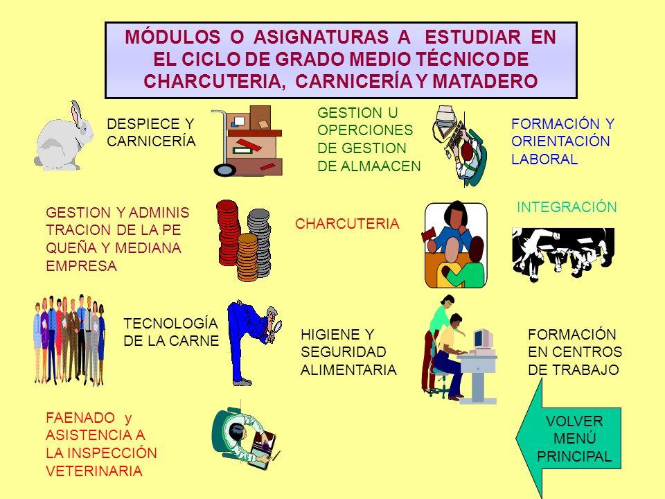 MÓDULOS O ASIGNATURAS A ESTUDIAR EN EL CICLO DE GRADO MEDIO TÉCNICO DE CHARCUTERIA, CARNICERÍA Y MATADERO