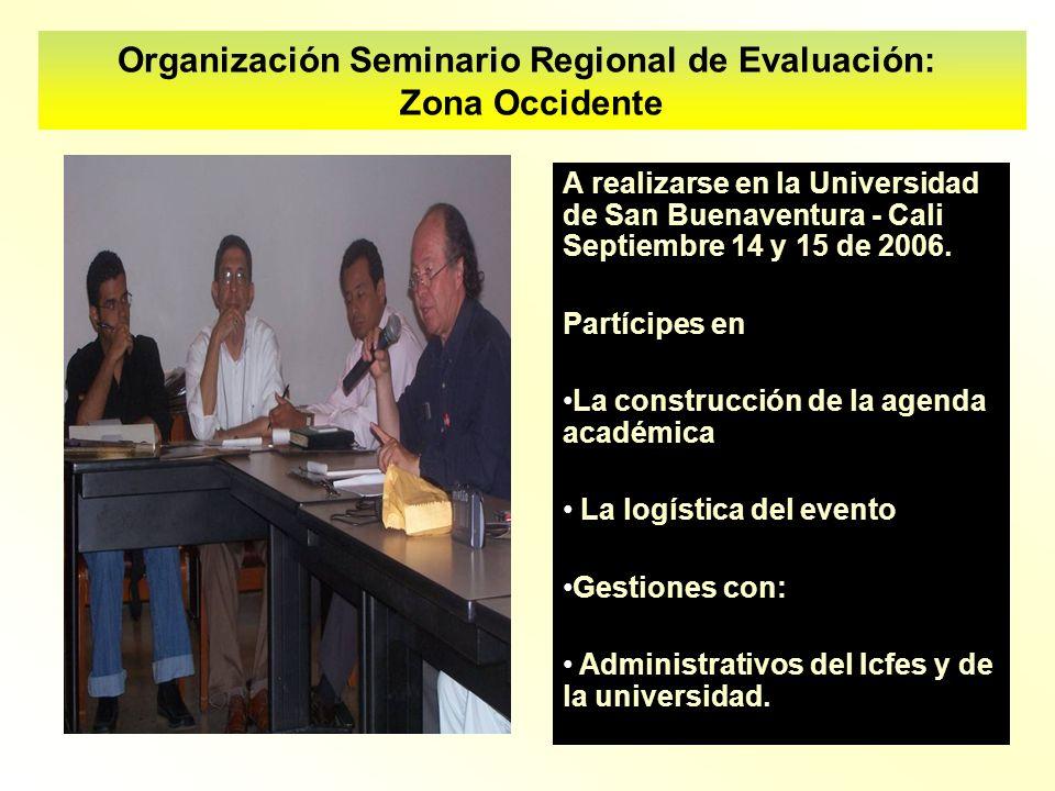 Organización Seminario Regional de Evaluación: