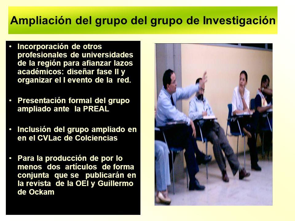 Ampliación del grupo del grupo de Investigación