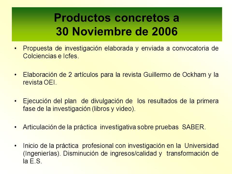 Productos concretos a 30 Noviembre de 2006