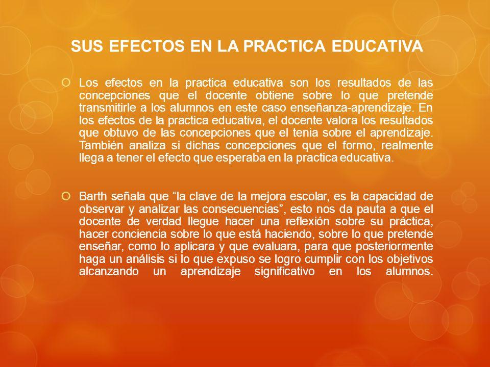 SUS EFECTOS EN LA PRACTICA EDUCATIVA