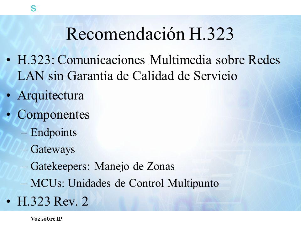 s Capacitación Técnica. Recomendación H.323. H.323: Comunicaciones Multimedia sobre Redes LAN sin Garantía de Calidad de Servicio.