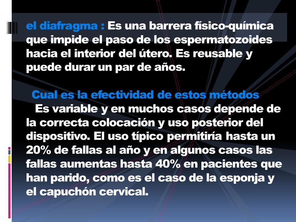 el diafragma : Es una barrera físico-química que impide el paso de los espermatozoides hacia el interior del útero.