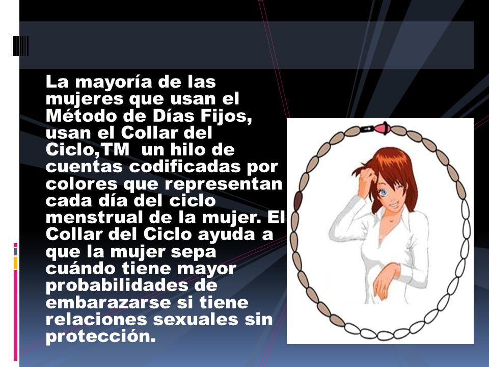 La mayoría de las mujeres que usan el Método de Días Fijos, usan el Collar del Ciclo,TM un hilo de cuentas codificadas por colores que representan cada día del ciclo menstrual de la mujer.
