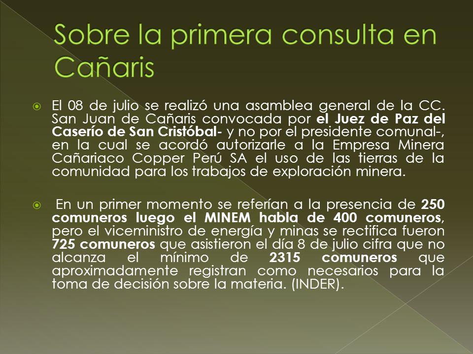Sobre la primera consulta en Cañaris