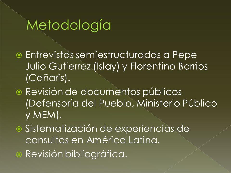 Metodología Entrevistas semiestructuradas a Pepe Julio Gutierrez (Islay) y Florentino Barrios (Cañaris).
