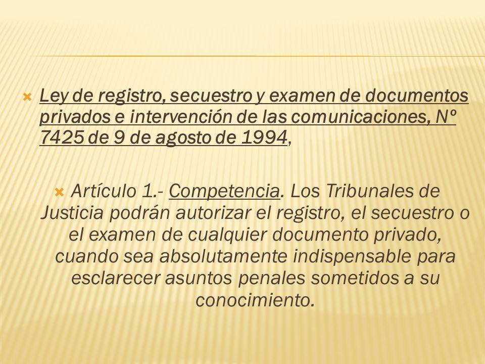 Ley de registro, secuestro y examen de documentos privados e intervención de las comunicaciones, Nº 7425 de 9 de agosto de 1994,