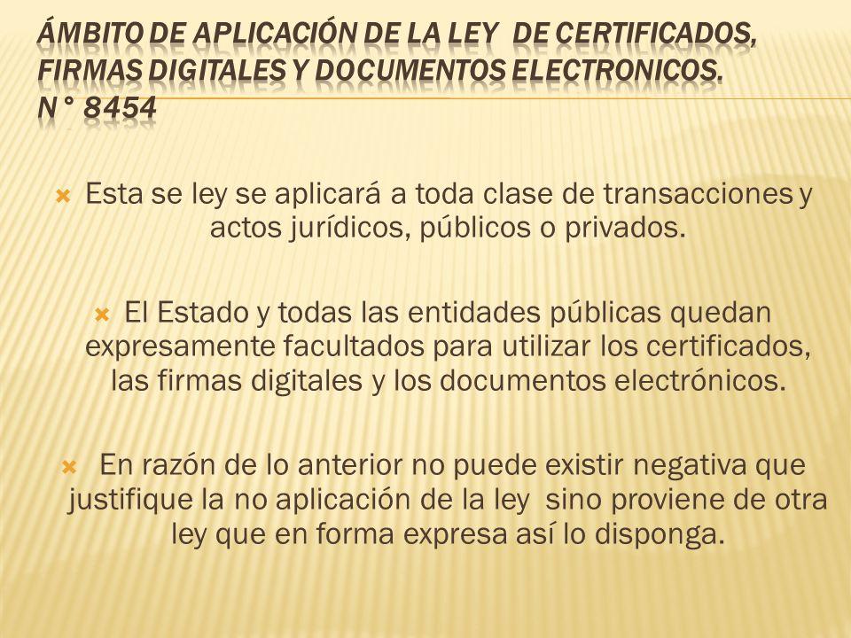 ÁMBITO DE APLICACIÓN DE LA LEY de certificados, firmas digitales y documentos electronicos. n° 8454