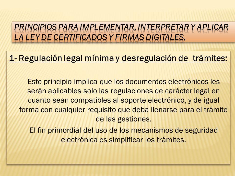 PRINCIPIOS PARA IMPLEMENTAR, INTERPRETAR Y APLICAR LA LEY DE CERTIFICADOS Y FIRMAS DIGITALES.